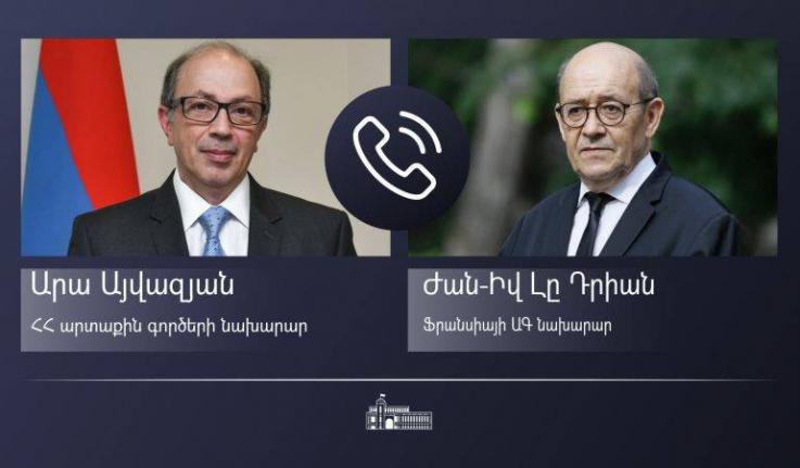 ՀՀ ԱԳ նախարար Արա Այվազյանը հեռախոսազրույց է ունեցել ֆրանսիացի գործընկերոջ հետ