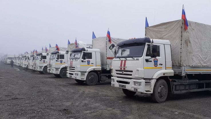 ՌԴ ԱԻՆ հումանիտար օգնության հերթական ավտոշարասյունն ուղևորվել է Լեռնային Ղարաբաղ
