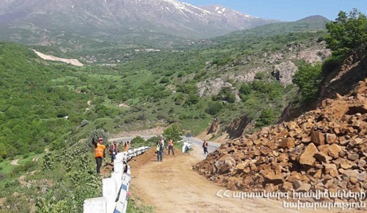Քարաթափում՝ Երևան-Մեղրի ավտոճանապարհին. մաքրման աշխատանքներն ավարտվել են, ճանապարհահատվածը երկկողմանի բաց է