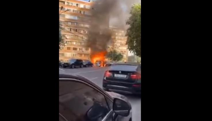 Սարյան փողոցում այրվում է KIA մակնիշի ավտոմեքենա (տեսանյութ)