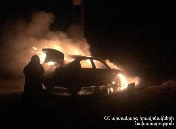 Ջերմուկ-Գնդևազ ավտոճանապարհին ավտոմեքենա է այրվել